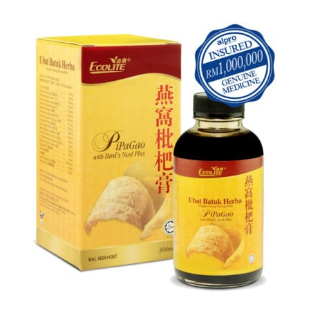 Ecolite Pipagao + Bird Nest Plus For Cough & Sore Throat Relief (300ml)