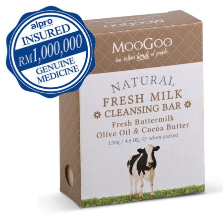 Moogoo Natural Fresh Milk Cleansing Bar With Fresh Buttermilk, Olive Oil & Cocoa Butter (130g)