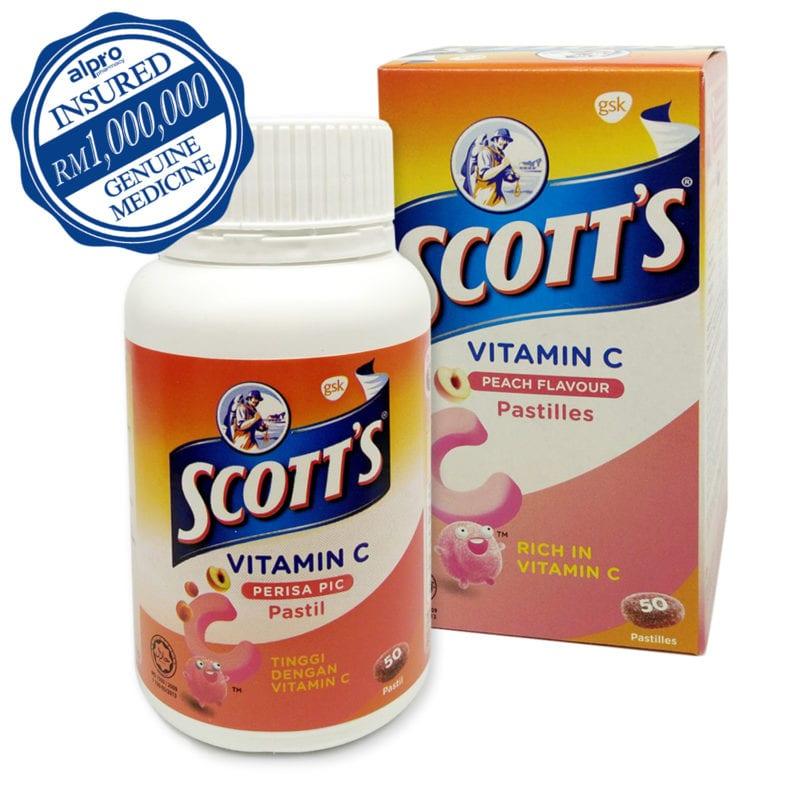 Scott's Vit.c Pastilles Peach 50s