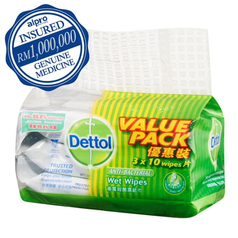 Dettol Anti-bacterial Wet Wipes (3 X 10's) [value Pack]