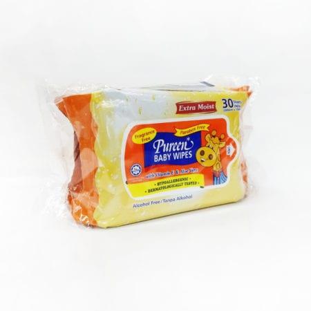 Pureen Baby Wipes Fragrance Free (orange) 2x30s