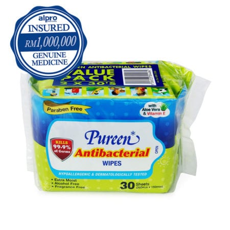 Pureen Antibacterial Wipes 30s X 2 (value Pack)