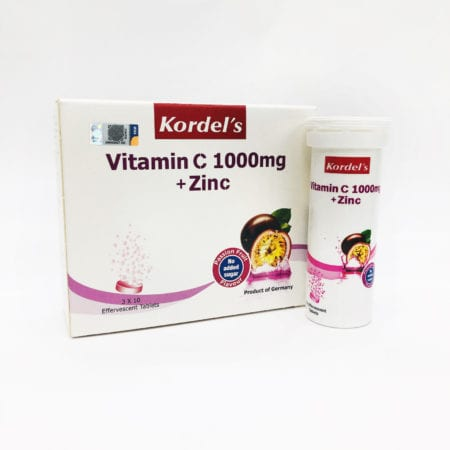 Kordels Vitamin C 1000mg + Zinc Effervescent Passion Fruit 3x10s
