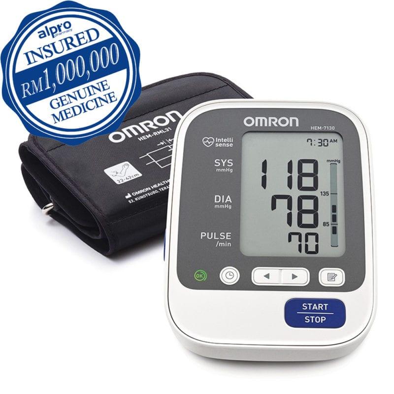 Omron Blood Pressure Meter Deluxe Hem-7130L + Adaptor
