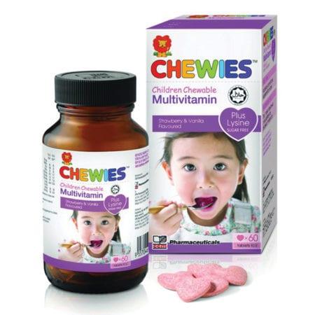 Chewies Kids Multivitamin With Lysine Strawberry Flavor 60s