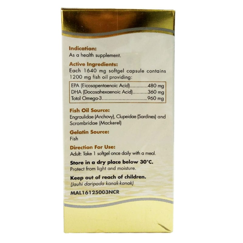 Thc Pristin Gold Fish Oil 1200mg 2x90s With 30s