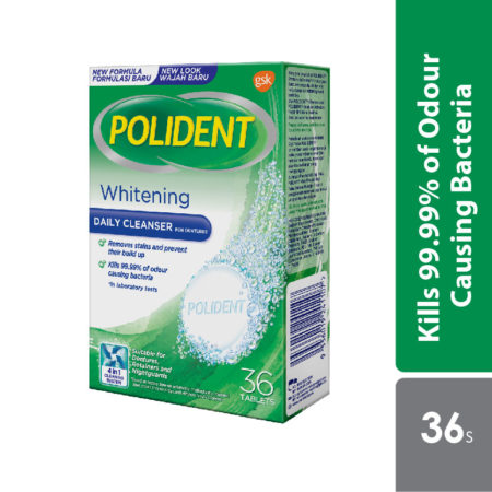 Polident Daily Cleanser For Dentures Whitening 36s (promo)