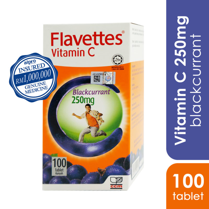 Flavettes Vit.c 250mg Blackcurrant 100s