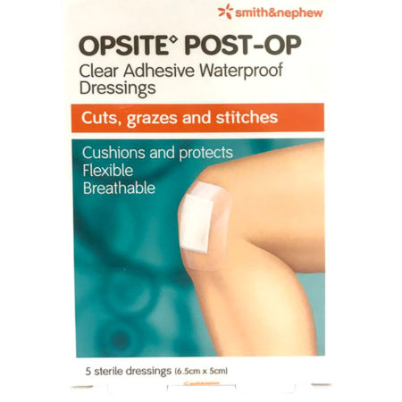 S&n Opsite Post-op Clear Adhensive Waterproof Dressings 6.5cmx5cm 5s