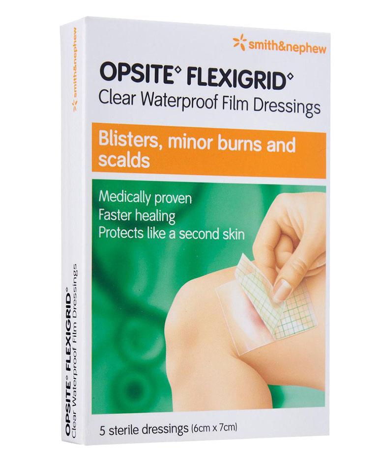 S&n Opsite Flexigrid Clear Waterproof Film Dressings 6cmx7cm 5s