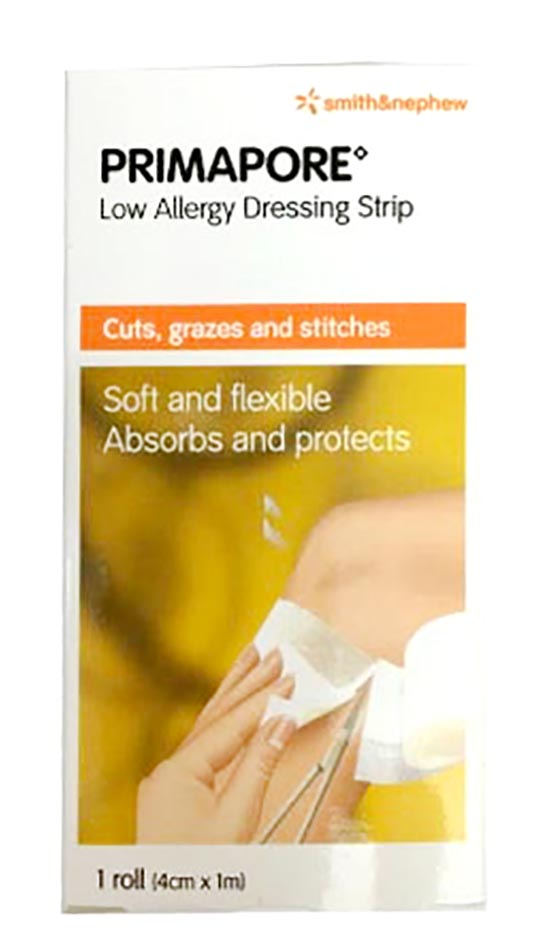 S&n Primapore Low Allergy Dressing Strips 4cmx1m 1s