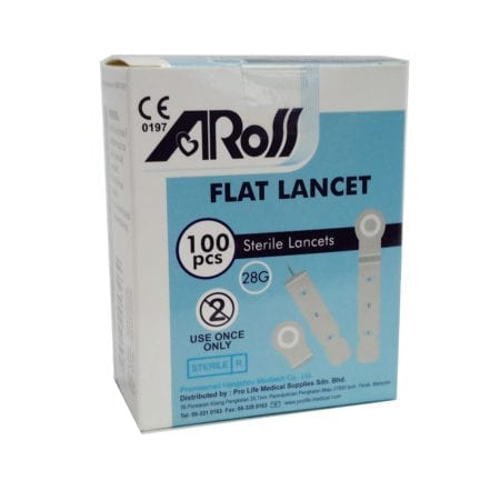 Aross Flat Sterile Lancets 28g 100s