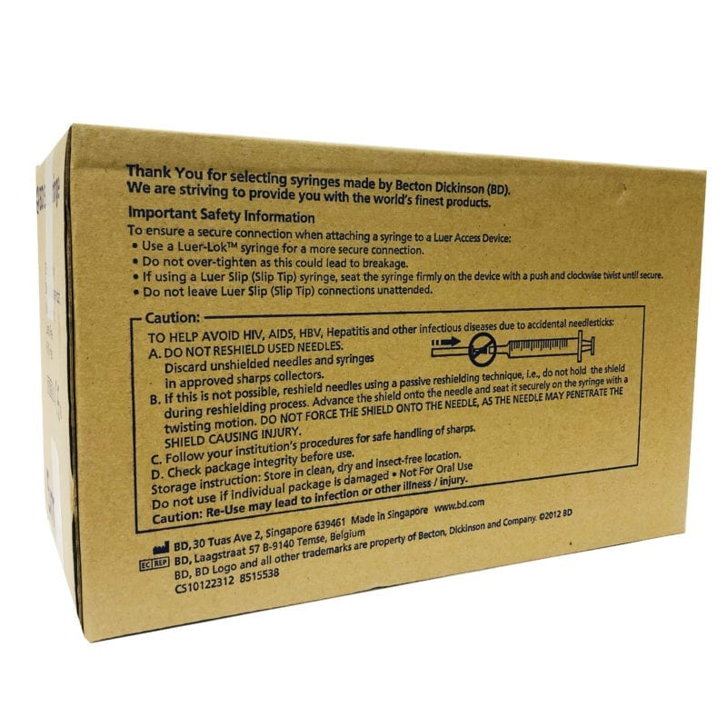 Bd Syringe 3ml (302113)ll 100s