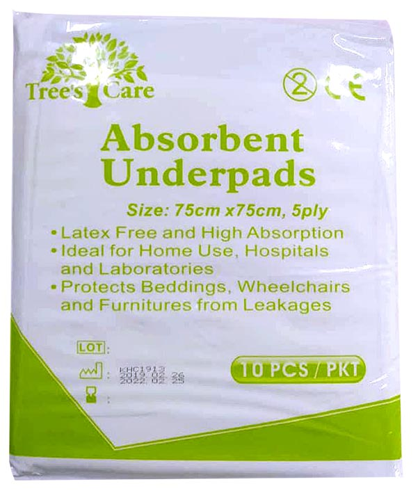Trees Care Absorbent Underpad 75cmx75cm 10s