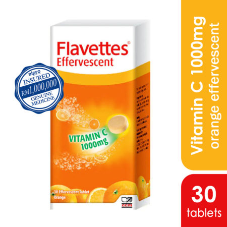 Flavettes Vit.c 1000mg Effervescent Orange 30s