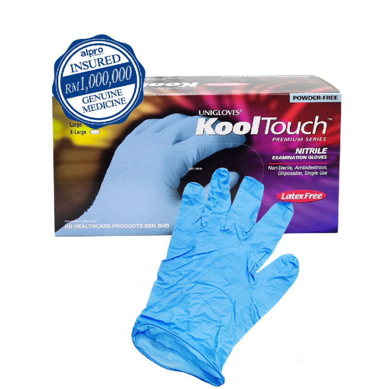 Unigloves Kooltouch Nitrile Gloves (latex Free & Powder Free) L 100s