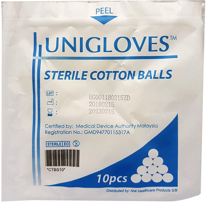 Unigloves Sterile Cotton Balls 10s 20s