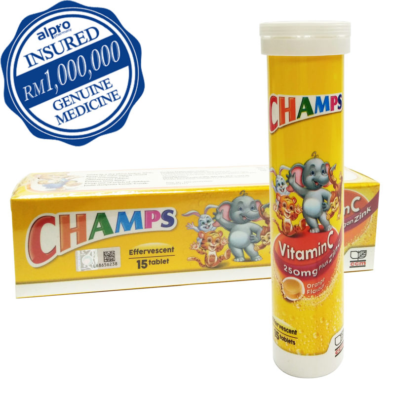 Champs Vit.c 250mg Plus Zinc Effervescent 15s
