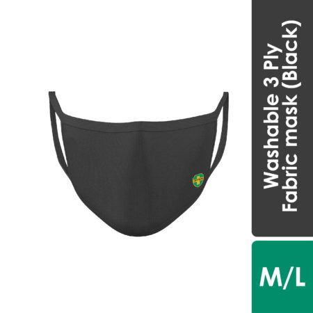 Offen 3 Ply Fabric Mask With Size (Black)