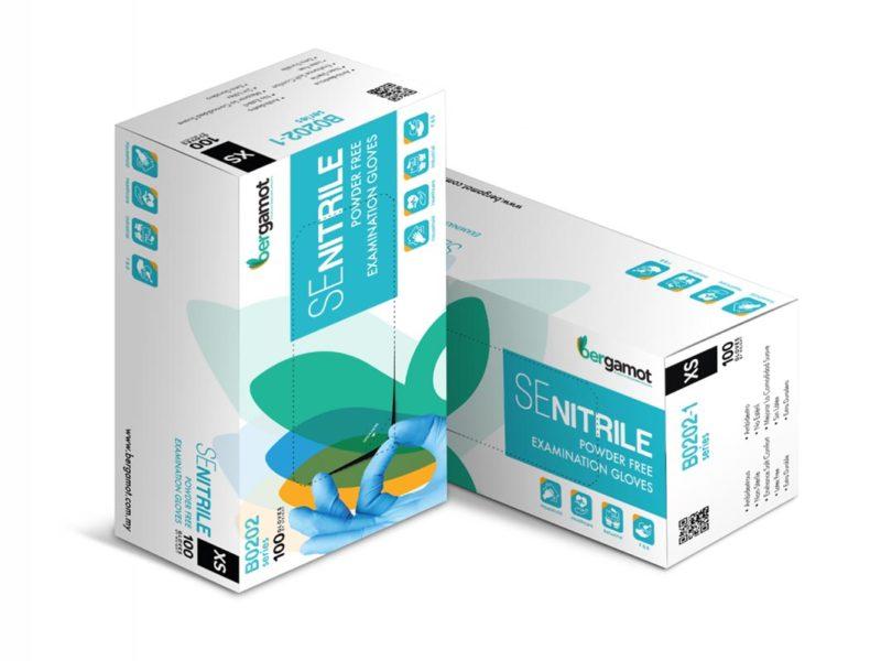 Bergamot Se Nitrile Gloves (powder Free) Xs 100s