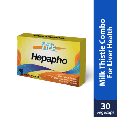 Powerlife Hepapho contains milk thistle, phyllantus and dandelion, great combination for liver health.