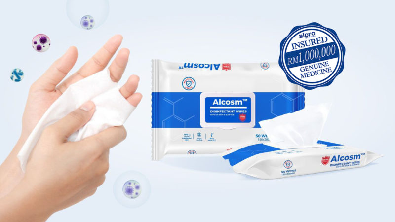 {Buy 2 Free 1} - Alcosm 75% Alcohol Wipes 150x200mm 50s