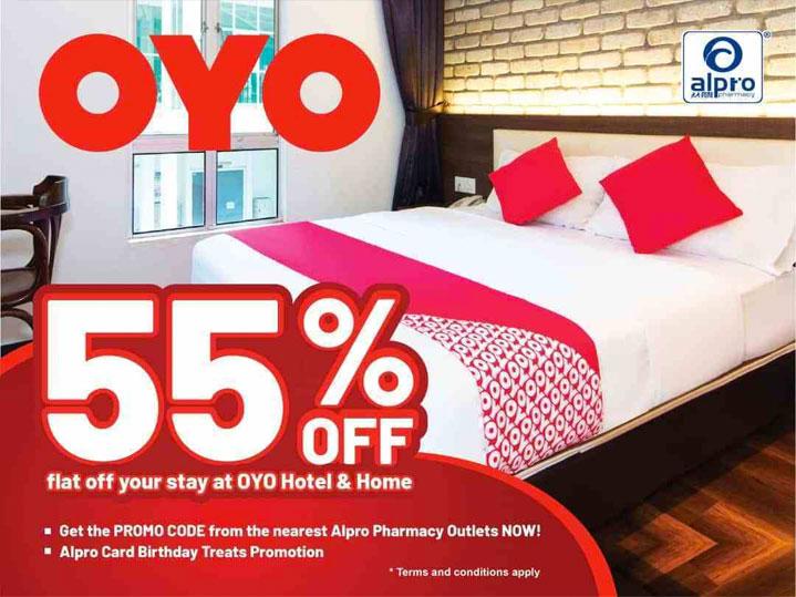 Enjoy OYO 55% off with Alpro Pharmacy membership