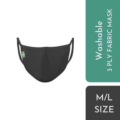 OFFEN 3 PLY FABRIC MASK SIZE (Black)