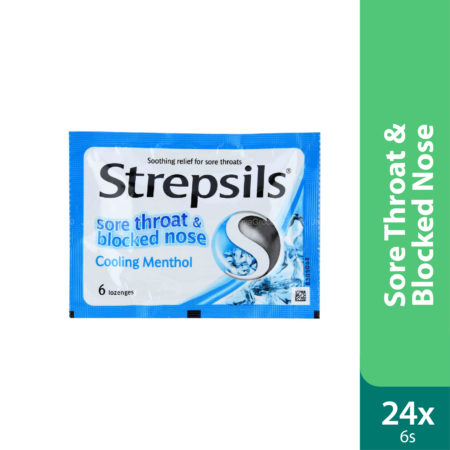 Strepsils Sore Throat &blocked Nose Cooling Menthol 24x6s