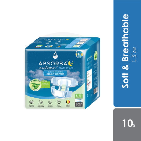 Absorba Nateen Maxi Plus Adult Diapers (l) 10s