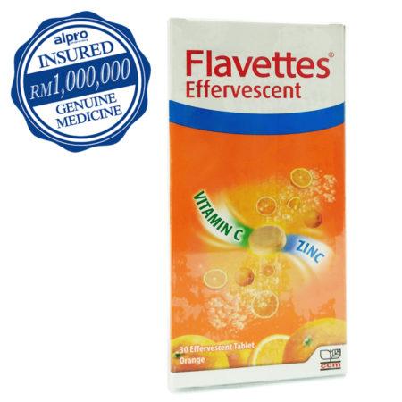 Flavettes Effervescent Vitamin C + ZInc Orang 30s