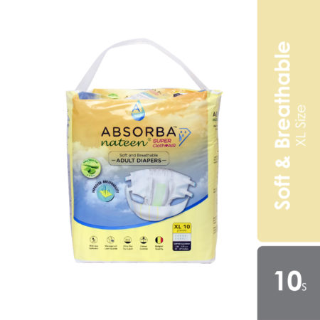 Absorba Nateen Super - Clothair Adult Diapers (Ex-Large) 10s