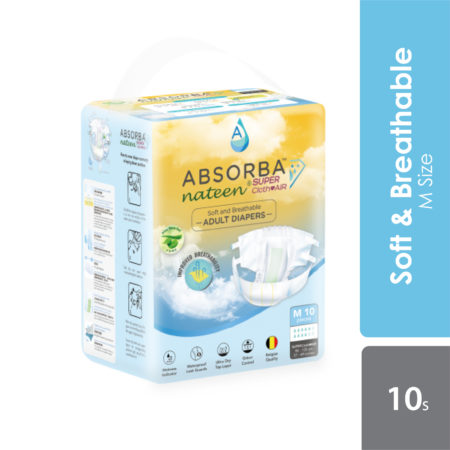 Absorba Nateen Super - Clothair Adult Diapers (Medium) 10s