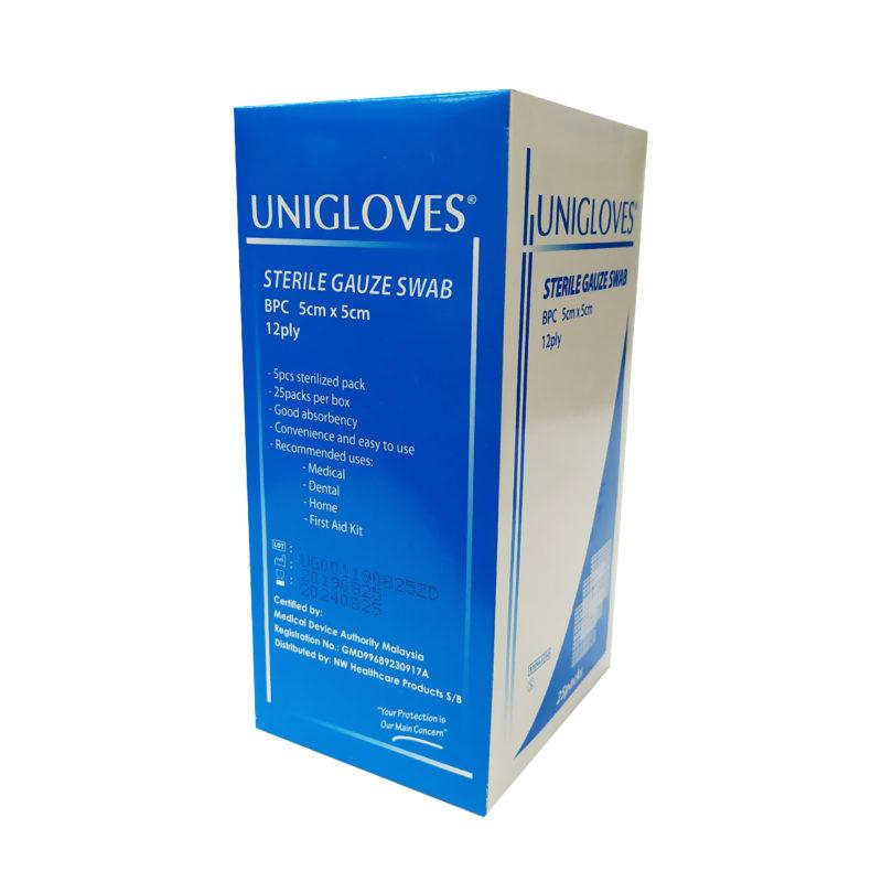 Unigloves Sterile Gauze Swabs 5cmx5cm 5x12ply 25s
