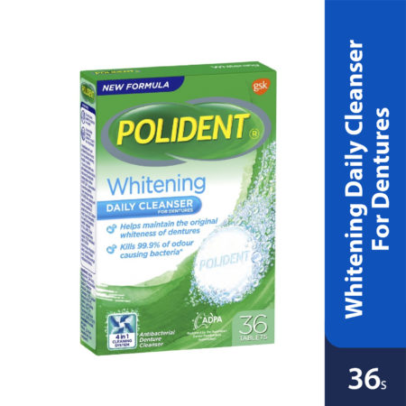 Polident Daily Cleanser For Dentures Whitening 36s