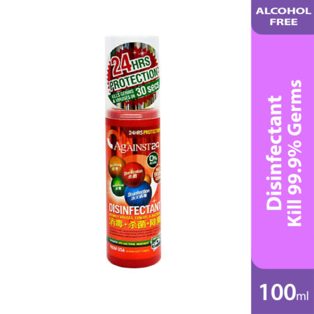 Against 24 Disinfectant is alcohol free sanitizer, no skin irritation, no dry skin, suitable for whole family and baby.