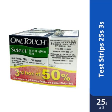 One Touch Select Test Strips 3x25s