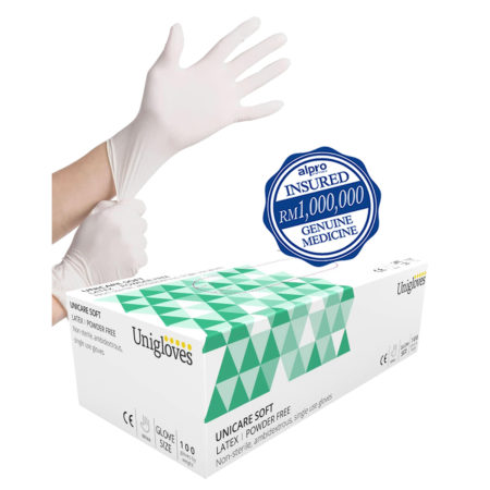 Unigloves Latex Gloves M (powder Free) 100s