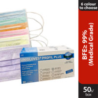 Unigloves 3 ply Surgical Face Mask Ear Loop50s (multiple colours)