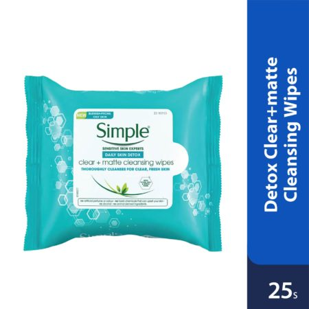 Simple Detox Clear Matte Cleansing Wipes 25's