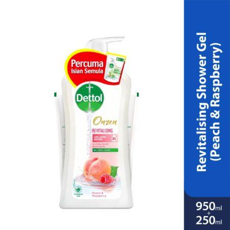 Dettol Onzen Revitalising Shower Gel (Peach & Raspberry) 950ml + 250ml