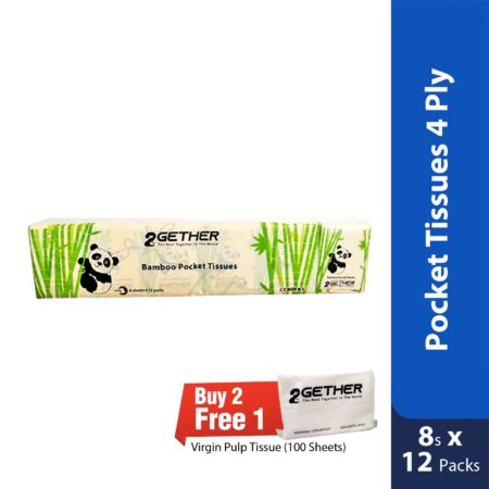 2gether Bamboo Pocket Tissues 4 Ply 8s X 12 Packs