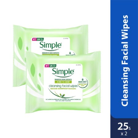 Simple Cleansing Facial Wipes 25's Twin Pack