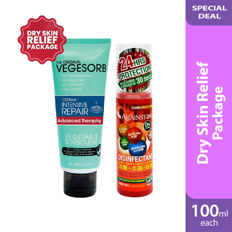 Dry Skin Relief Package: Vegesorb Ce Moisturiser + Against 24 Disinfection
