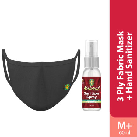 Offen 3 Ply Fabric Mask Size M 1s (black) + Offen Natural Sanitizer Spray 60ml