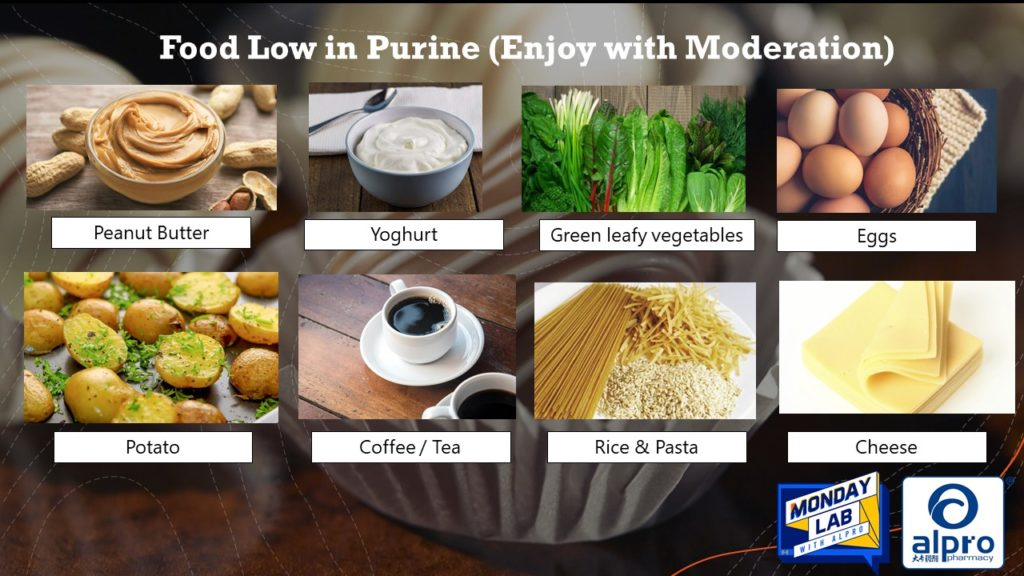 Food low in purine level