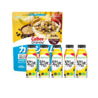 Breakfast Set: Calbee Granola+ Calcium 400g 1pack + Joybean Original 320ml 5 units