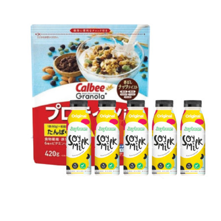 Breakfast Set: Calbee Granola+ Protein 420g1 Pack + Joybean Original 320ml 5 Units