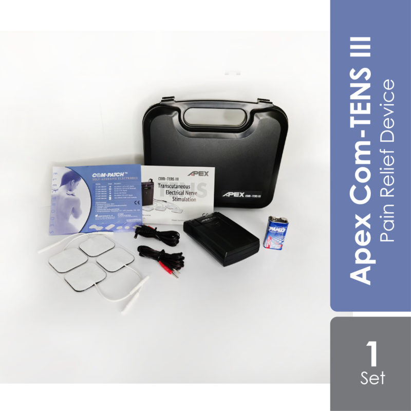 Apex COM-TENS III device is a drug free device to relief pain that can be used to treat a wide variety of muscle and joint problems.