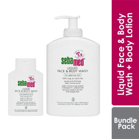 Sebamed Liquid Face&body Wash 1l Free 200ml + Face & Body Wash 20ml + Body Lotion 15ml